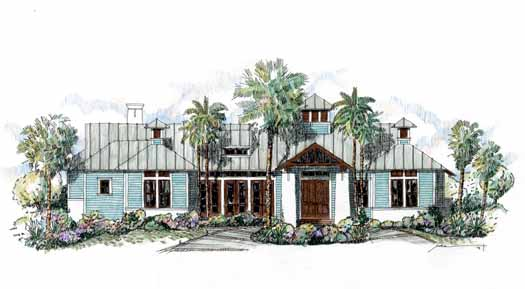 Coastal Style Home Design Plan: 54-111