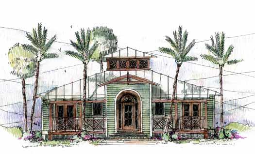 Coastal Style Home Design Plan: 54-115