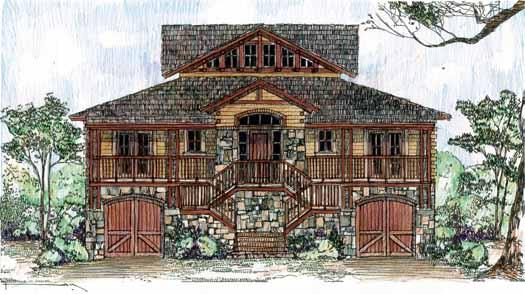 Coastal Style Home Design Plan: 54-117
