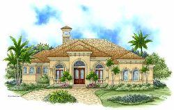 Mediterranean Style Home Design Plan: 55-107