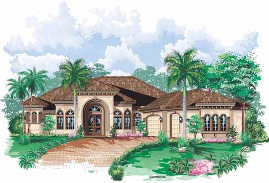 Mediterranean Style Home Design Plan: 55-112