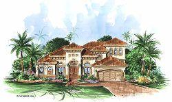 Mediterranean Style Home Design Plan: 55-117