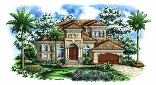Italian Style Home Design Plan: 55-132