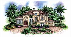 Mediterranean Style Home Design Plan: 55-137