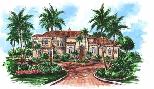 Mediterranean Style Home Design Plan: 55-145