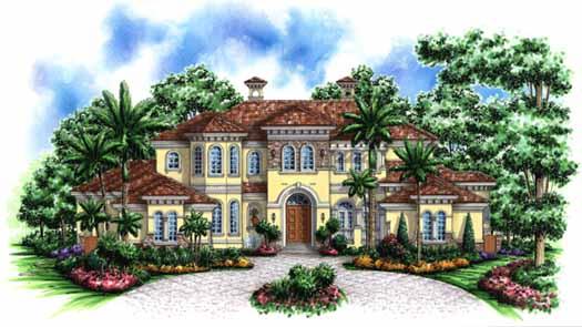 Mediterranean Style Home Design Plan: 55-173