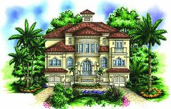 Mediterranean Style Home Design Plan: 55-178