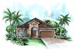 Mediterranean Style Home Design Plan: 55-188