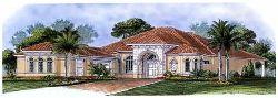 Mediterranean Style Home Design Plan: 55-196