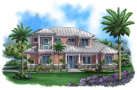 Coastal Style Home Design Plan: 55-212