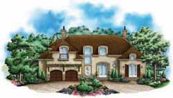 French-Country Style Home Design Plan: 55-220