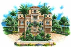 Mediterranean Style Home Design Plan: 55-226