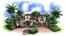 Mediterranean Style Home Design Plan: 55-227