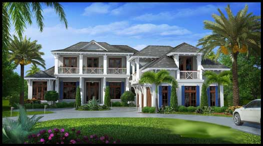 Coastal Style Home Design Plan: 55-238