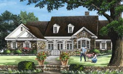 French-Country Style Home Design Plan: 57-117