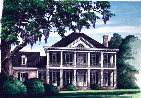 Southern-colonial Style Home Design Plan: 57-127
