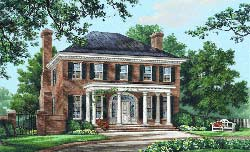 Southern-Colonial Style Home Design Plan: 57-149