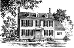 Colonial Style Home Design Plan: 57-167