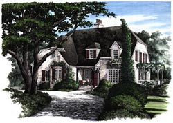 French-Country Style Home Design Plan: 57-169