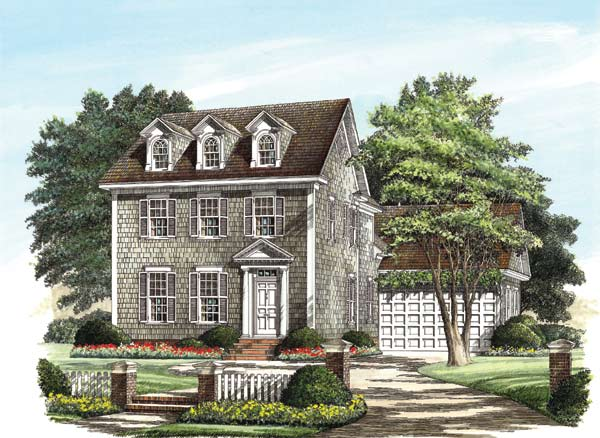 Colonial Style Home Design Plan: 57-172