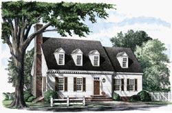 Cape-Cod Style Home Design Plan: 57-185