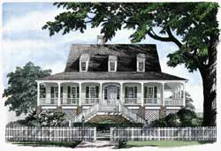 Southern Style Home Design Plan: 57-192