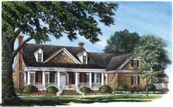 French-Country Style Home Design Plan: 57-194