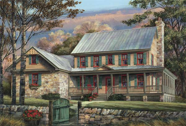 Country Style Home Design Plan: 57-203