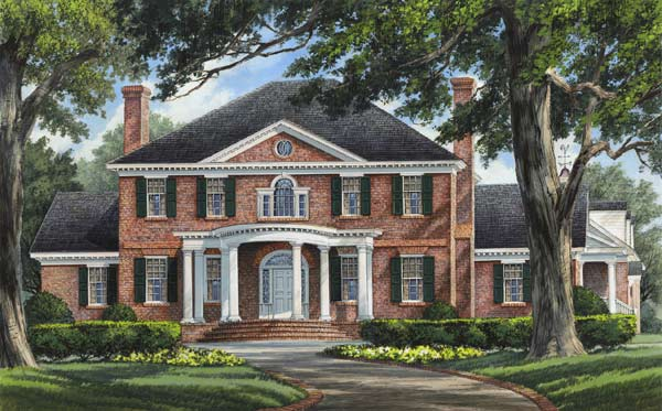 Southern-colonial Style Floor Plans Plan: 57-210