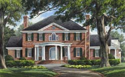 Southern-Colonial Style Home Design Plan: 57-210