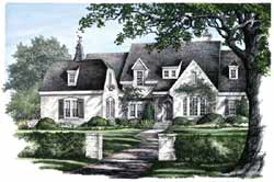 French-Country Style Home Design Plan: 57-270