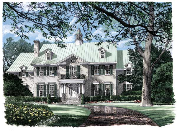 Southern-colonial Style Home Design Plan: 57-274