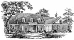 Southern-Colonial Style Home Design Plan: 57-276