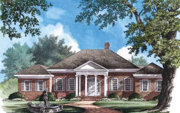 Greek-revival Style Home Design Plan: 57-291