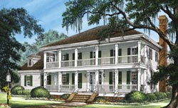 Southern-Colonial Style Home Design Plan: 57-329