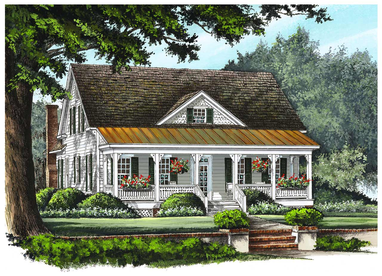 Country Style Home Design Plan: 57-372
