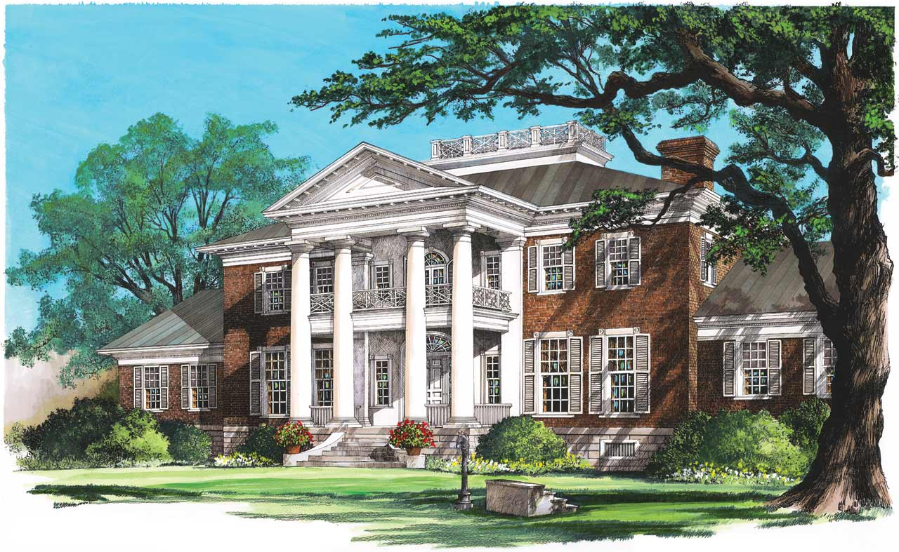 Greek-revival Style Home Design 57-374