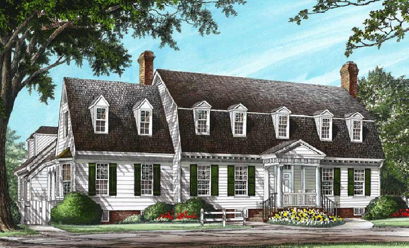 Early-american Style Home Design Plan: 57-382