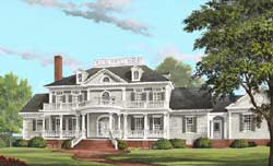 Southern-Colonial Style Home Design Plan: 57-393