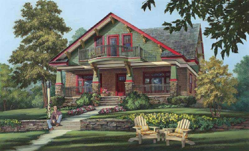 Bungalow Style Home Design Plan: 57-414