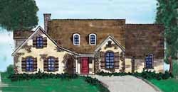 French-Country Style Home Design Plan: 58-101