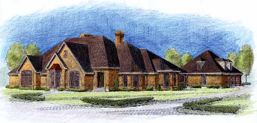 European Style Home Design Plan: 58-110