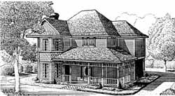 Country Style Home Design Plan: 58-142