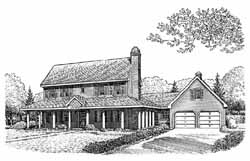 Country Style Home Design Plan: 58-196