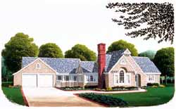 French-Country Style Home Design Plan: 58-208