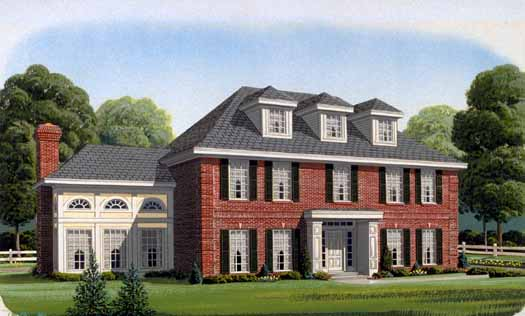 Colonial House Plan - 5 Bedrooms, 3 Bath, 3503 Sq Ft Plan 58-275 on colonial style house plans, colonial mansion home plans, colonial house plans with porches,