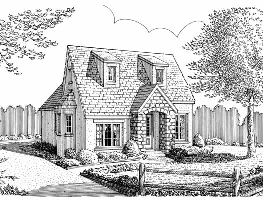 Cottage Style Home Design Plan: 58-326