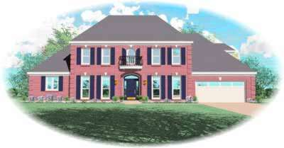 Southern-colonial Style Home Design Plan: 6-1024