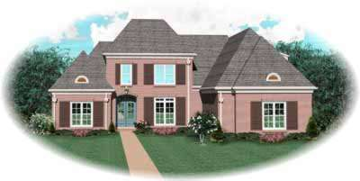 European Style Home Design Plan: 6-1030