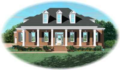 Southern Style Home Design Plan: 6-1039